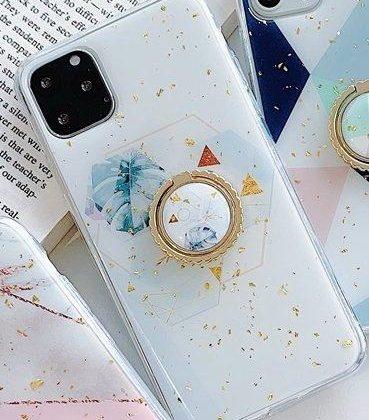 iPhone11 Pro skal vitt med guldflingor ringhållare