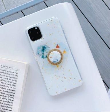 iPhone11 Pro Max skal vitt med guldflingor ringhållare