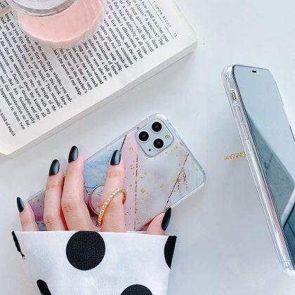iPhone11 Pro Max skal geometriska former guldflingor ringhållare