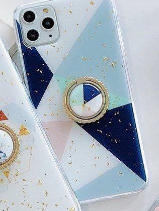 iPhone11 Pro skal geometriska former mönster guldflingor ring