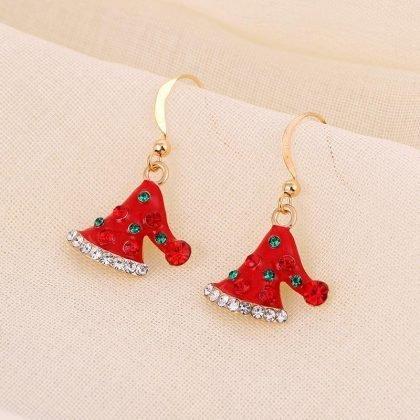 Vackra örhängen med söt tomteluva guldplätering strass jul