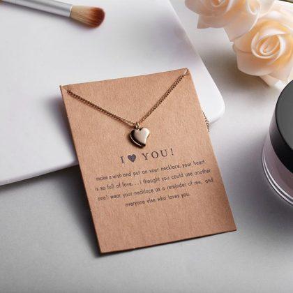 I LOVE YOU - halsband med hjärta 18K guldpläterat gåva