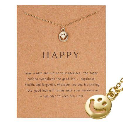 Happy - halsband med glada Buddhan 18K guldpläterat gåva