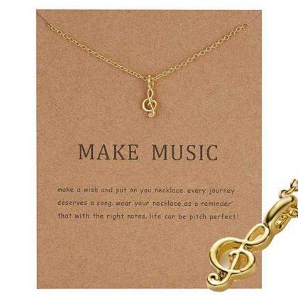 Make music - G klav not halsband med 18K guldpläterat gåva