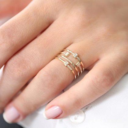 Unik handgjord silver & guldpläterad ring i band zircon