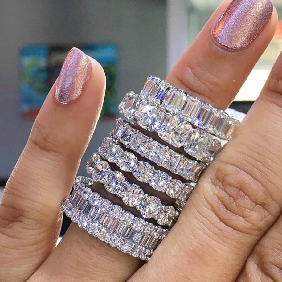 Handgjorda evighetsringar Zircon 925 silver ringar flera modell