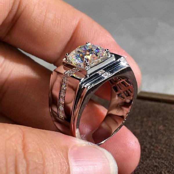 Handgjorda breda ringar Zircon 925 silver gåva