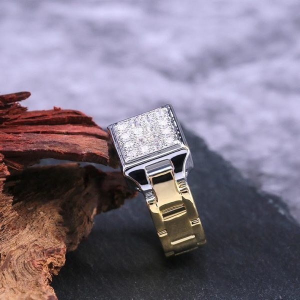 18 karat guldpläterad ring för män med zircon