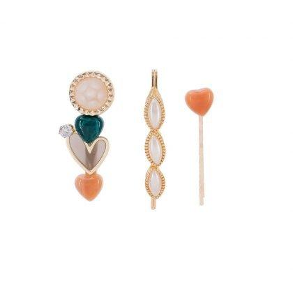 3 stk söta hårnålar med hjärtan & pärlor