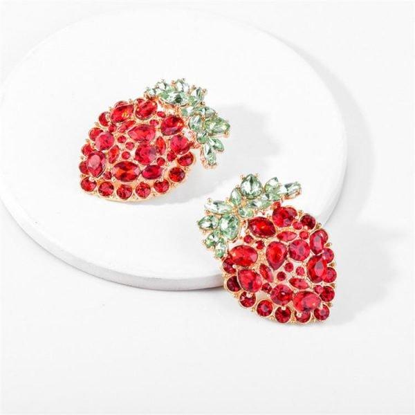 Guldpläterade Örhängen i form av jordgubbar - med strass