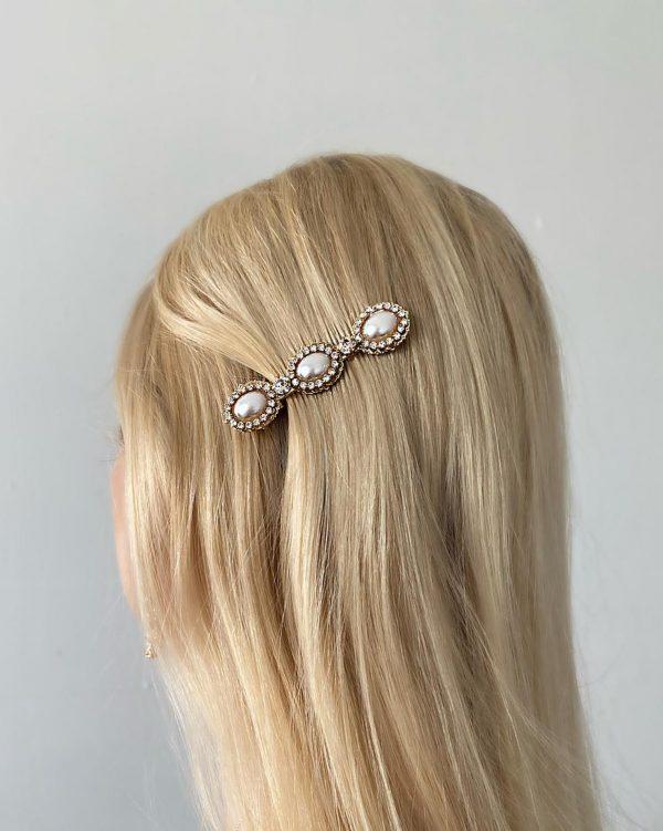 Unik hårnål med pärlor och strass 3 berlocker