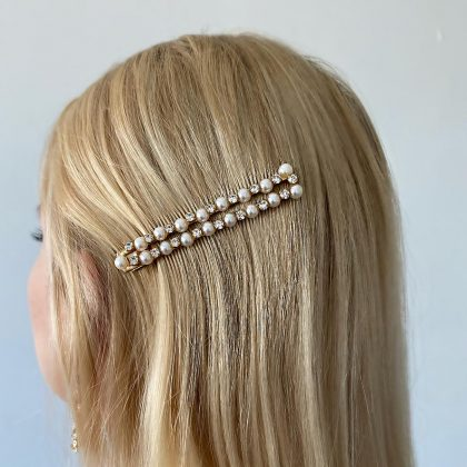 Hårklämma med strass och pärlor
