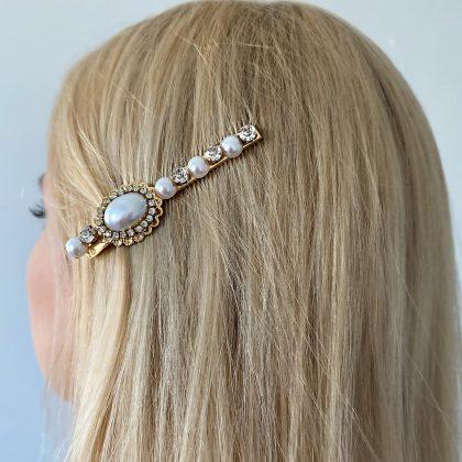 Unik hårnål med pärlor och strass 1 berlock