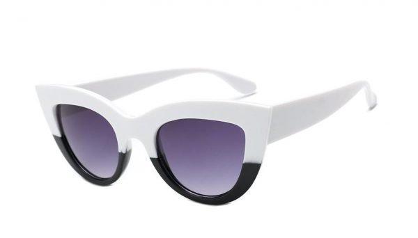 Unika svartvita cat-eye solglasögon