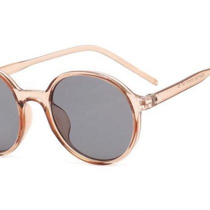 Beige Hipster runda solglasögon sommar Nicki