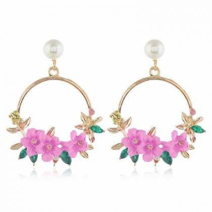 Stora Hoops i guld med pärla och rosa söta blommor