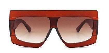 Röda Breda Oversized Solglasögon UV400 Paris