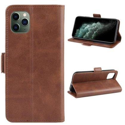 Plånboks-fodral till iPhone11 i brunt konstgjrot läder