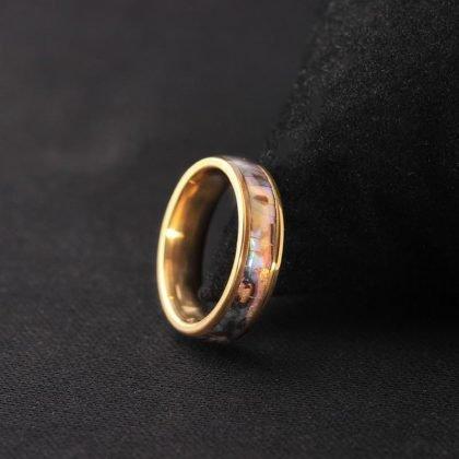 Guldpläterad ring med pärlemor till män guld