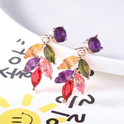 Roséguld pläterade örhängen m färgade stenar Monalisa kollektion