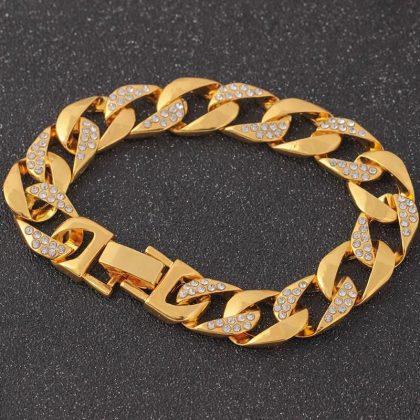 Lyxigt 18K guldpläterat armband med strass Hip hop
