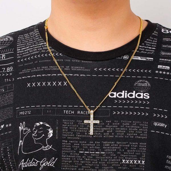 Elegant kristet kors med guldplätering för män