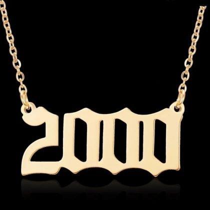Guldpläterat halsband kedja år 2000 unisex