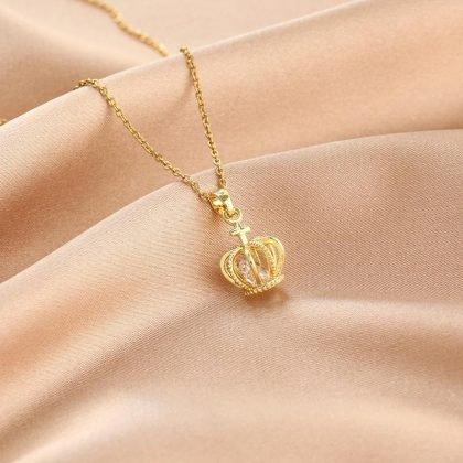 Guldpläterat halsband kedja med kunglig krona diamanter gåva