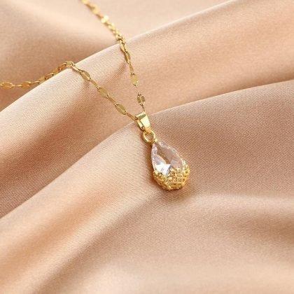 Guldpläterat halsband kedja med diamanter droppe gåva