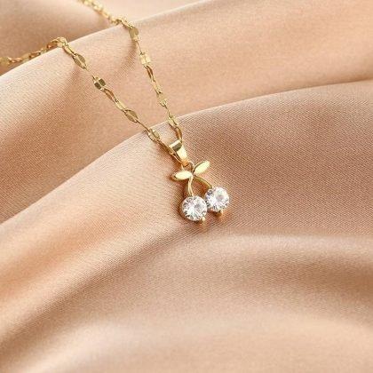 Guldpläterat halsband kedja med diamanter körsbär gåva