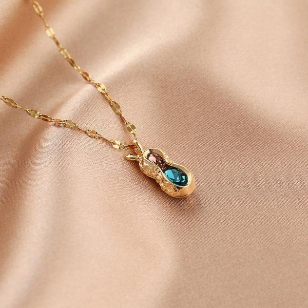 Guldpläterat halsband kedja med diamanter jordnöt gåva