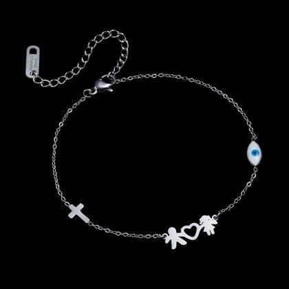 Kärleksarmband i titanium par hjärta armband gåva