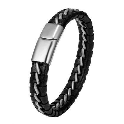 Unikt vävt armband i läder till män med metall gåva valentines present