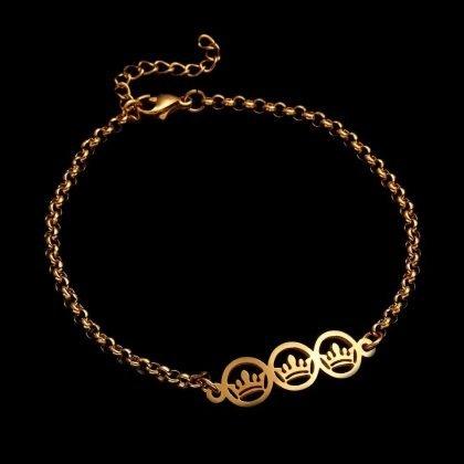 Guldpläterat armband med kronor perfekt gåva barn kvinnor män