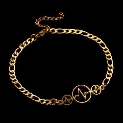 Guldpläterat armband med hjärtslag perfekt gåva barn kvinnor män