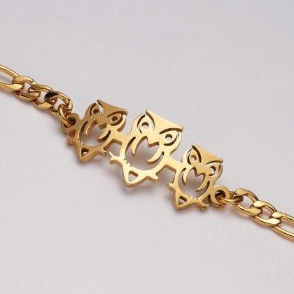 Guldpläterat armband med ugglor perfekt gåva barn kvinnor män