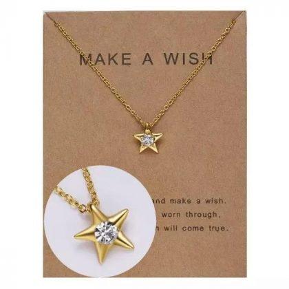 Guldpläterat Önske-halsband med stjärna perfekt valentines gåva present