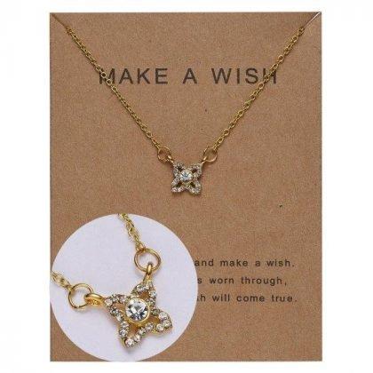 Guldpläterat Önske-halsband med blomma perfekt valentines gåva present