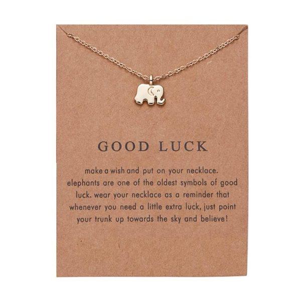 Lycka till - halsband med budskap och elefant