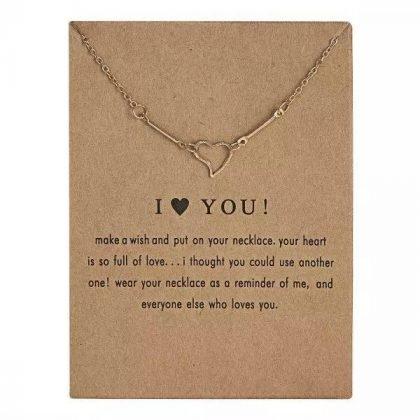 I LOVE YOU - halsband med hjärta - 18K guldpläterat gåva