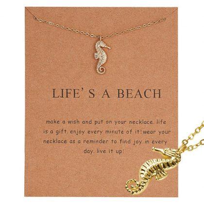 Life's a beach - halsband med sjöhäst 18K guldpläterat gåva
