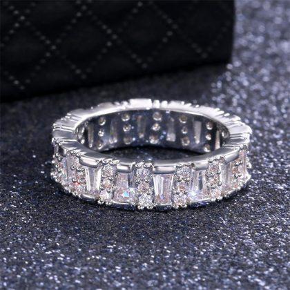Handgjord 925 silverpläterad ring med zircon för kvinnor diamant