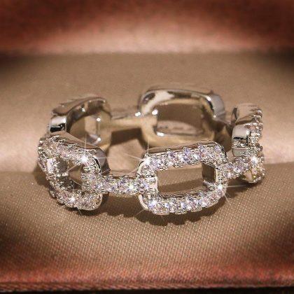 Unik handgjord 925 silverpläterad vintage ring i band