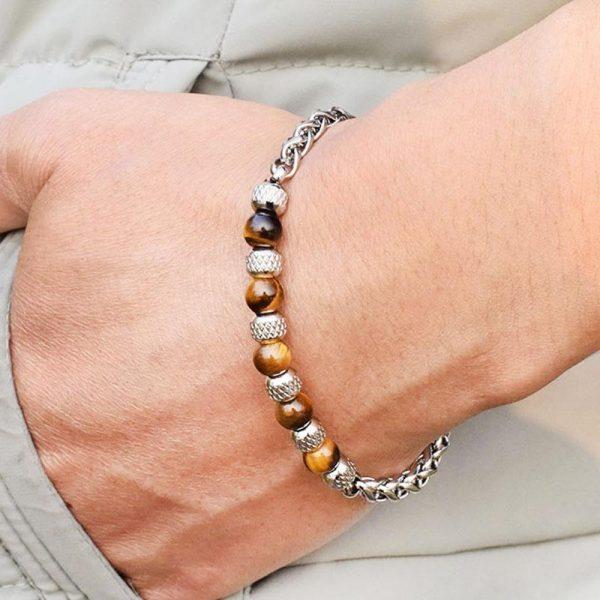 Justerbart armband med ''Tiger eye'' pärlor för män