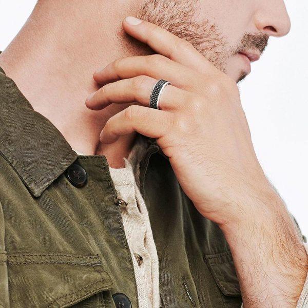 925 Silverpläterad handgjord ring för män i svart mönster