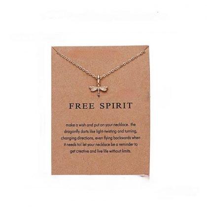Free spirit - halsband 18K guldpläterat gåva trollslända