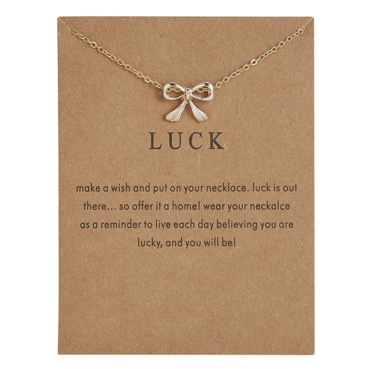Luck - lycka rosett halsband med 18K guldpläterat gåva