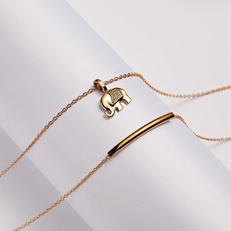 Lucky us - lycka elefant halsband med 18K guldpläterad gåva