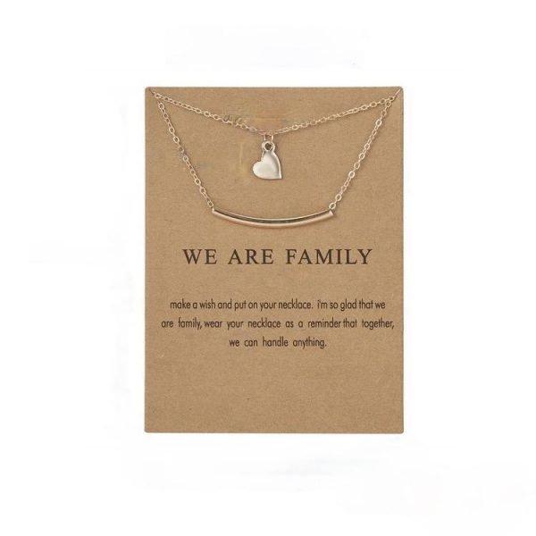 We are family - familj hjärta halsband med 18K guldpläterad gåva