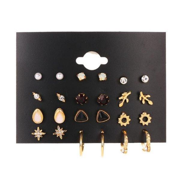 Örhängen set á 12 guldpläterade pärlor strass hoops